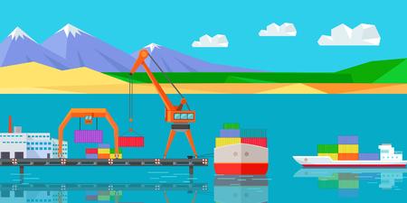 Logistics and Transportation of Cargo Ship Illustration