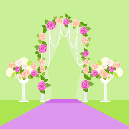 Wedding Arc Door with Flowers. Romantic Element