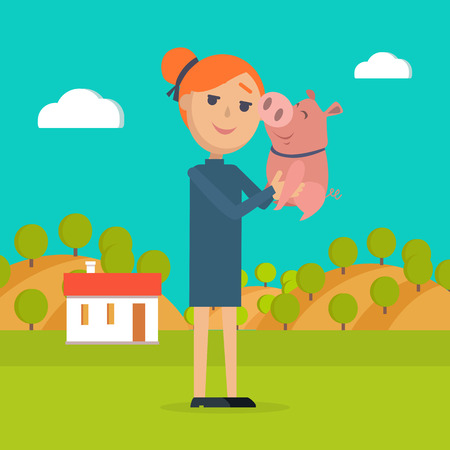 Woman Holds Pig in Hand Country Farm on Background
