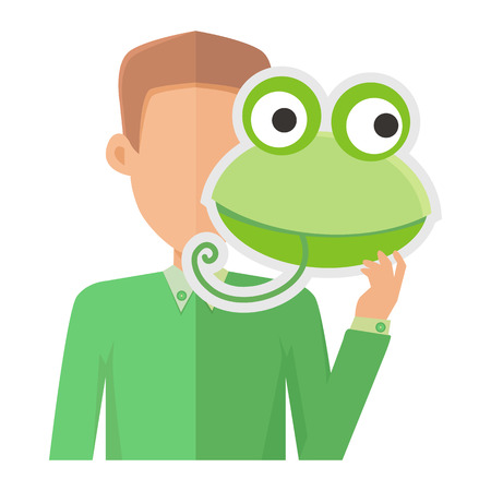 Man Without Face with Frog Mask Isolated on White. Illustration