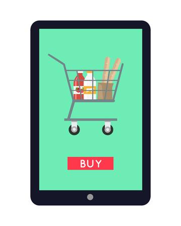 Online Grocery Store Concept Banner Illustration.