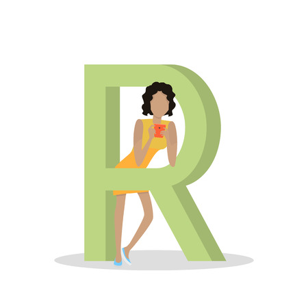intercommunication: R Letter and Girl Plays on Smartphone. ABC Vector