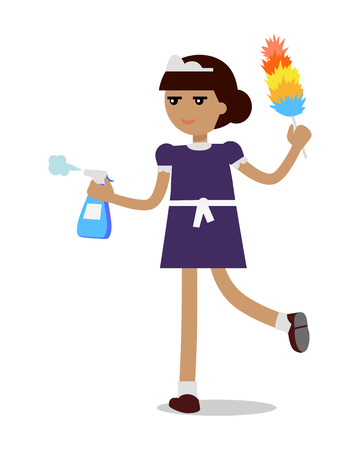 Cleaning Woman in Maid Uniform Illustration