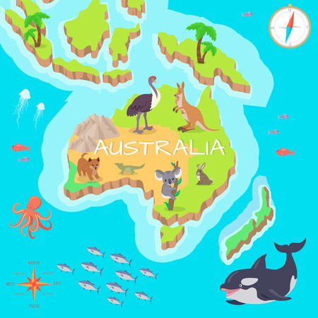 bull shark: Australia Isometric Map with Flora and Fauna. Illustration