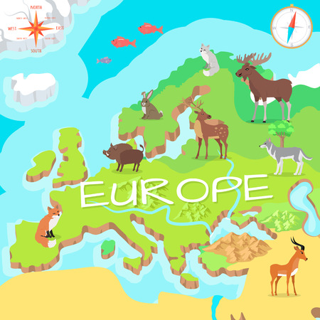 continents: Europe Isometric Map with Flora and Fauna. Vector Illustration