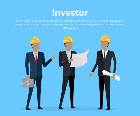 investor: Construction Investor banner Vector Illustration