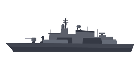 Coast Guard Cutter Flat Design Vector Illustration