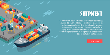 Port Warehouse Shipment Banner. Cargo Containers
