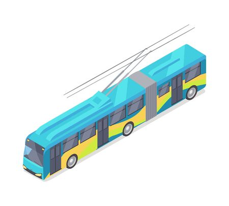 trolleybus: Trolleybus Vector Icon in Isometric Projection