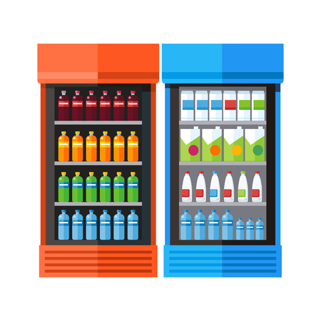 icebox: Two Showcases Refrigerators Drinks Illustration