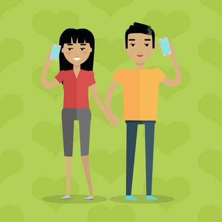Talking on Phone Vector Concept in Flat Design