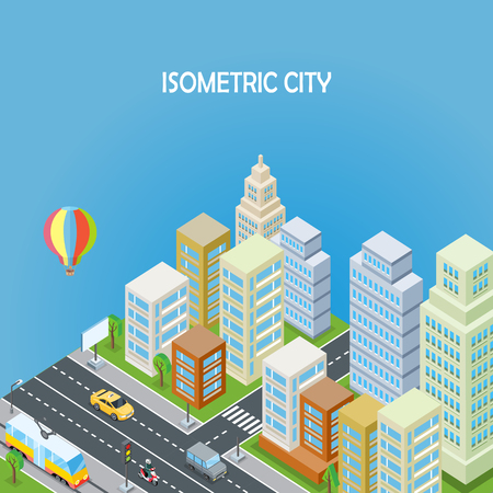 air traffic: Isometric city concept on blue background. Isometric city background. Isometric city, megapolis, office buildings, road, skyscraper, street and city service transport. Urban landscape in flat. Illustration