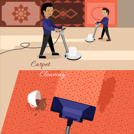 dirty carpet: Carpet cleaning service banner. Man in uniform cleaning carpet with commercial cleaning equipment. Carpets chemical cleaning with professionally disk machine. House cleaning concept in flat.