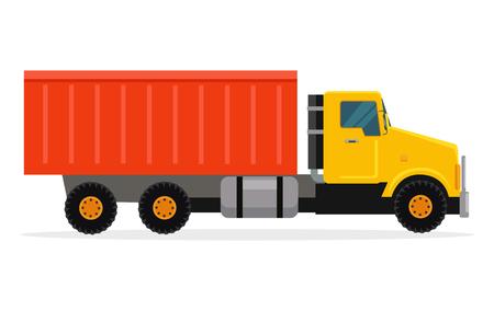 intake: Delivery Tipper Truck Transportation. Vector Cargo Illustration