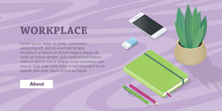 note book: Desk with Mobile Phone, Pencils, Plant, Note Book
