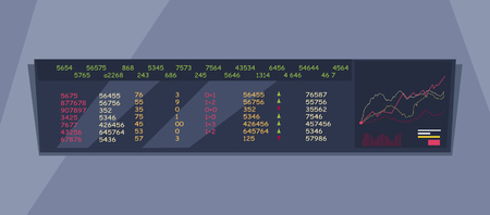 attentions: Stock Exchange Index Monitoring Concept Vector