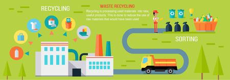 Abfall, der Infographic-Vektor-Konzept aufbereitet. Vektorgrafik