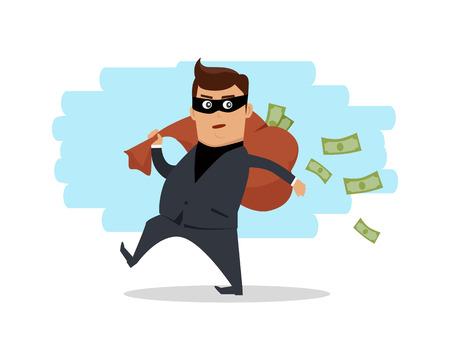 law of panama: Money Stealing Concept Flat Design Vector Illustration