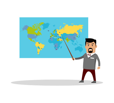 geography: Geography Lesson Flat Design Vector Illustration. Illustration