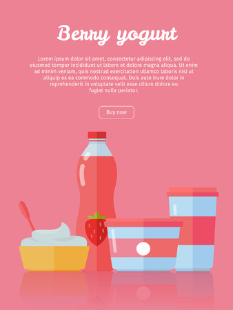 milk products: Berry Yogurt, Dairy Products from Milk Illustration