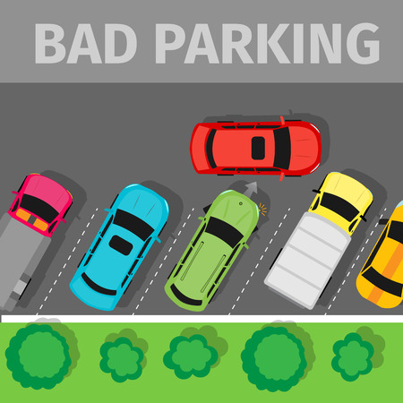 urban area: City parking vector web banner. Flat style. Shortage parking spaces. Large number of cars in a crowded parking. Urban infrastructure and car boom. Bad parking