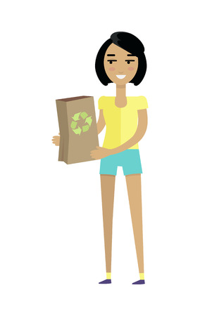 dark haired woman: Young european woman in yellow t-shirt and blue shorts with paper bag. Caucasian beautiful girl. Attractive teenager lady in casual clothes. Part of series of people of the world. Vector illustration
