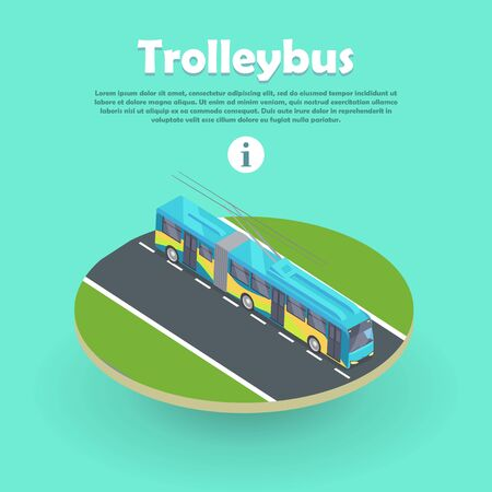 trackless: Trolleybus on Part of Road Web Banner. Flat 3d