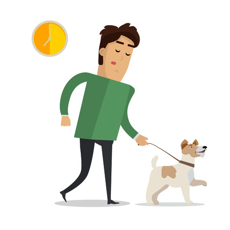 Tired Man in Casual Clothes Walking with his Dog