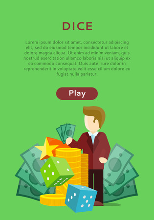 Dice Casino Banner. Online Play Concept. Illustration