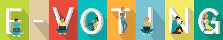 E-voting Concept Web Banner in Flat Design Illustration