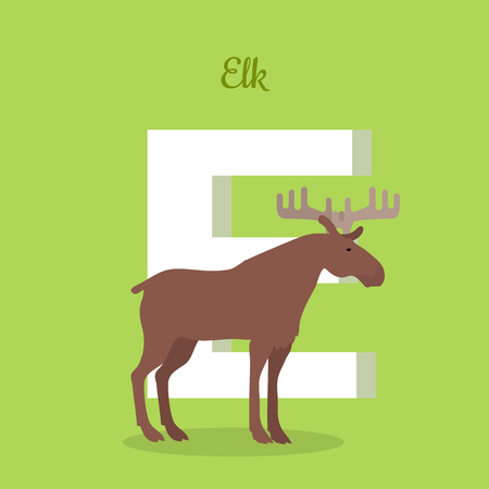 Elk with letter E isolated on green. Wapiti bull largest in the deer family. Large mammal moose. Part of alphabetic series with animals. ABC, alphabet. Vector illustration in flat style