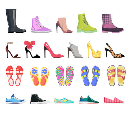 Collection of Shoes Types. Modern Female Footwear Illustration