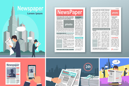 throwaway: Newspapers. News is Available 24 h Concept Banners