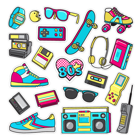 pager: Patch Icons of 80 s. On White Limited Background. Illustration