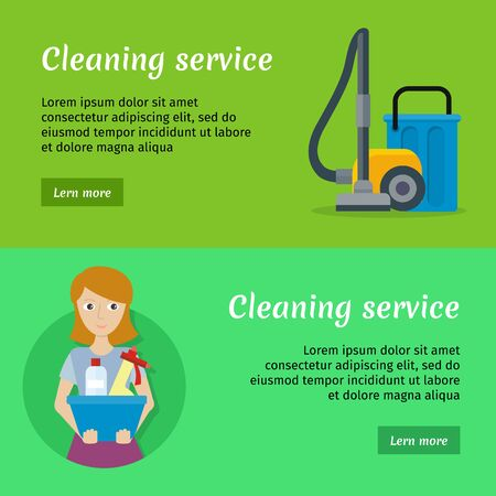 hoover: Set of Cleaning Service Banners Illustration