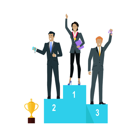 Successful team banner. Professional growth. People standing on winners podium. Prize place. Trophy gold cup. Successful team achieves best results working together. Vector illustration