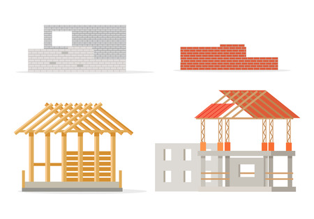 girders: Industrial process of building new house. Stages of constructing. Industrial and design brick wall, house frame of girders, pieces of roof, foundation of house and cement walls. Vector illustration Illustration