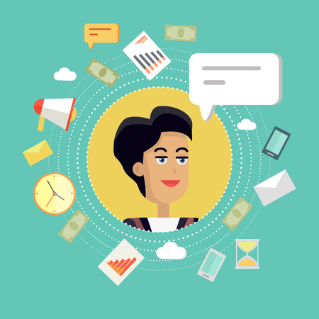 young businesswoman: Creative office background. Businesswoman icon with bubble. Avatars of woman with devices for communication. Smiling young female personage in flat on green background. Vector illustration.