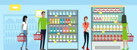 mujer en el supermercado: Shopping in supermarket vector. Flat design. Man and woman with baskets in hands choose products from store shelves. Consumers choice and shopping concept. Illustration for sales and discounts ad.