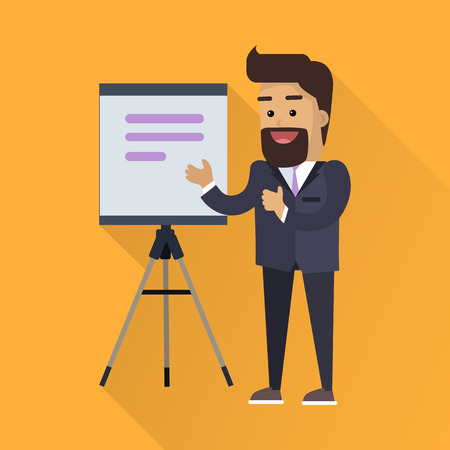 congress: Presentation concept vector in flat style design. Smiling man in business suit taking lecture with flipchart or projector screen on  tripod. Speaker at science, academic, trade, business conference