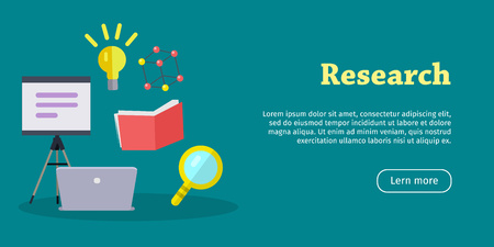 lab test: Research web banner. Laboratory banner with laptop, magnifier, book. Research infographic concept background. Scientific research, science lab, science test, technology illustration. Website template Illustration