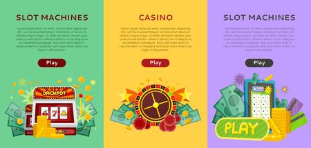 Set of Gambling Vector Banners In Flat Design