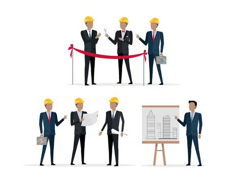 Investors in Helmet on Presentation New Project Illustration