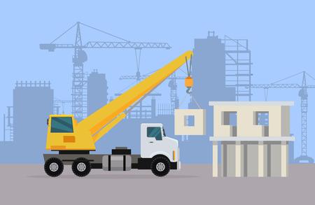 Truck Crane on Background of Building Area. Vector Illustration