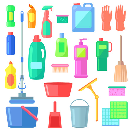 Cleaning. Different Icons of Cleaning Mean Kinds