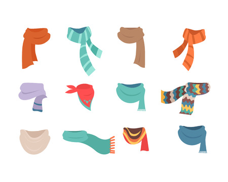Set of Scarves for Cold Weather to Boys and Girls Illustration