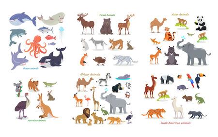 Zwierzęta oceaniczne. Zwierzęta leśne. Azjatyckie zwierzęta. Australijskie zwierzęta. Afrykańskie zwierzęta. Południowoamerykańskie zwierzęta. Zestaw wektor kreskówek z doffernt kontynentów. Ilustracje w stylu płaskiej
