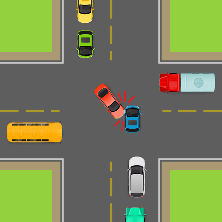 curb: Accident on road due to non-fulfilment traffic rules. Death of people. How to turn left in correct order. Cars, bus, truck on crossroad. Right use of transport. Vector illustration. Dangerous on road. Illustration