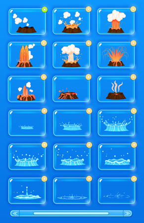 Natural disaster icons set with volcano erupting and flood. Volcano magma blowing up, lava flowing down vector set. Water flowicons. Crater mountain volcano. Volcano erupt ash. Collection of icons Illustration