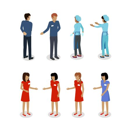 marketeer: Set of sellers characters vector templates. Flat style design. Man and woman selling goods. Supermarket personnel, shopping in mall concept. Salesman and saleswoman. Shop assistant, clerk illustration Stock Photo
